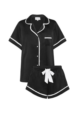 LUXE SATIN PERSONALISED PYJAMA SET - BLACK/ WHITE