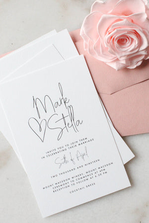 Wedding Invitation - All My Heart - Miss Poppy Design