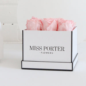 Forever Roses- Pink Roses in White Square Box - Miss Poppy Design