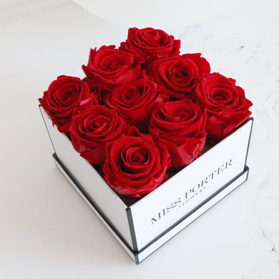 Forever Roses- Red Roses in White Square Box