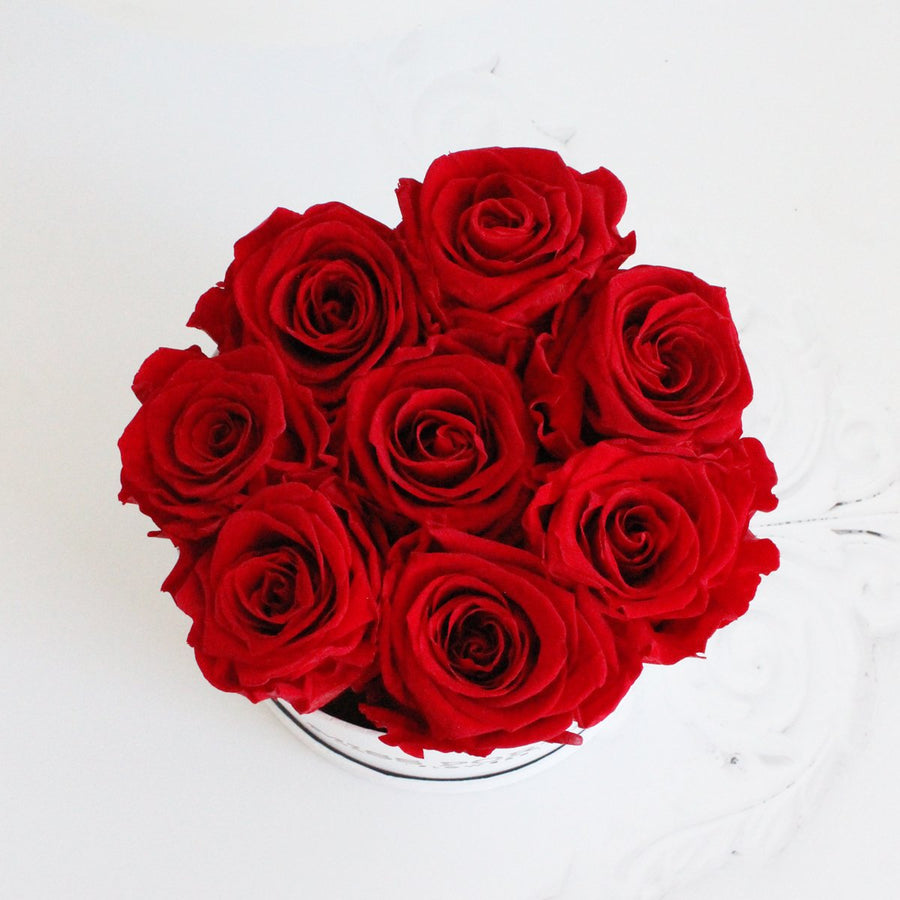 Forever Roses- Red Roses in White Hat Box