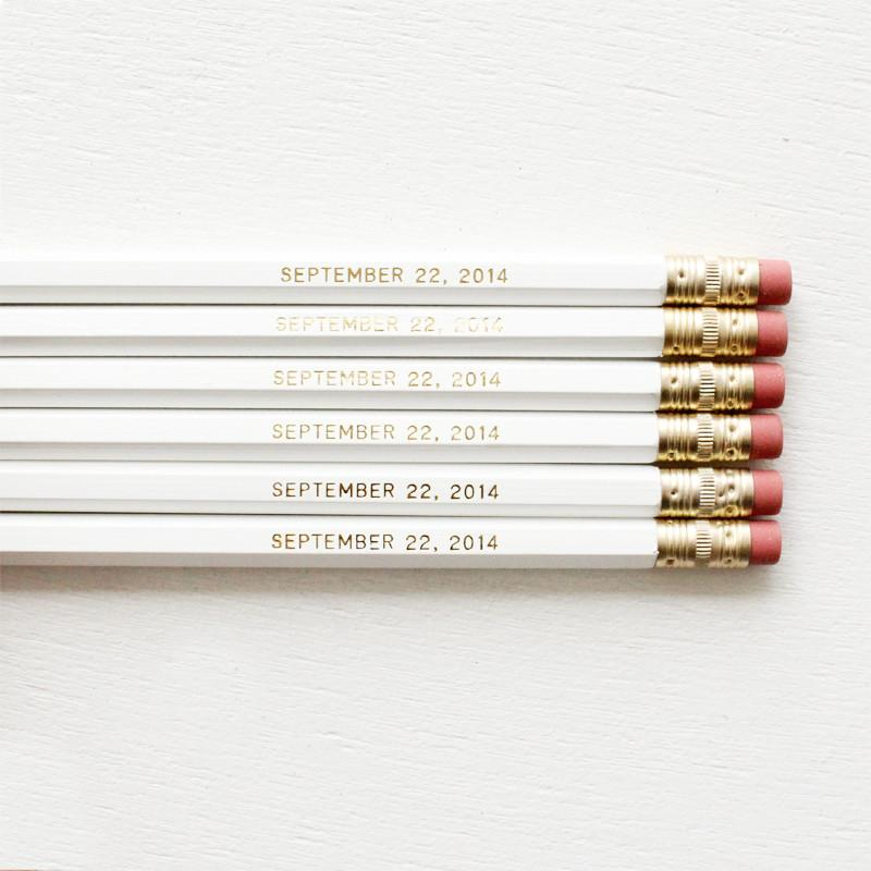 WEDDING DATE- PERSONALISED WEDDING PENCILS - Miss Poppy Design