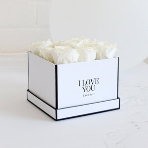 Forever Roses- White Roses in White Square Box - Miss Poppy Design