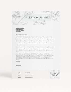 "Resume Template - ""Willow"" - Miss Poppy Design"