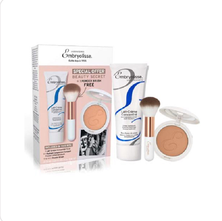 BEAUTY SECRET BOX / LATÍN CREAM 75ml . BROCHA PARA POLVO . Y UN POLVO COMPACTO