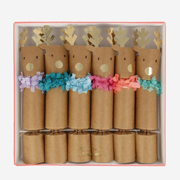 meri meri reindeer fringe christmas crackers small
