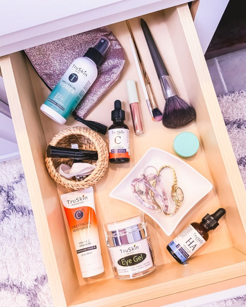 Various TruSkin skincare products in drawer