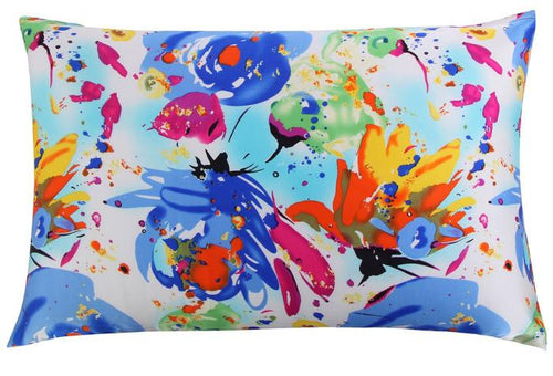 100% mulberry floral silk pillowcase - Kitty Cactus