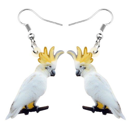 Australian Sulphur-crested Cockatoo Bird Earrings