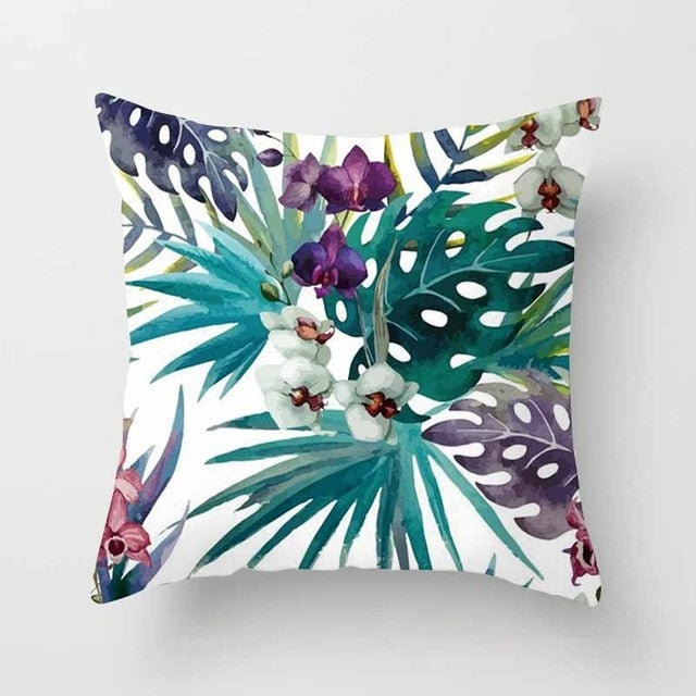 Sit back and Relax! Tropical Leaf Cushion Cover - Kitty Cactus
