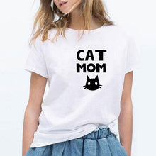 Load image into Gallery viewer, 'Cat Mom' Short Sleeve Casual T-shirt - Kitty Cactus
