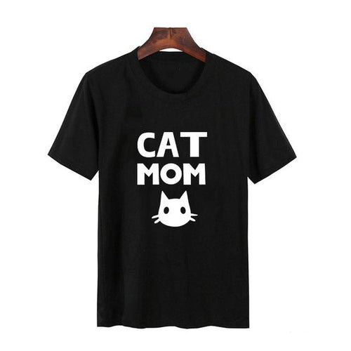 'Cat Mom' Short Sleeve Casual T-shirt - Kitty Cactus