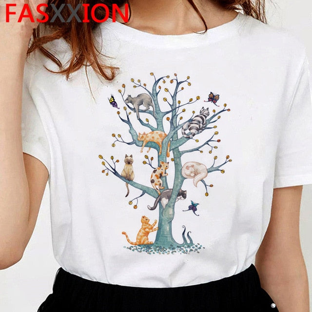 Kitty X Cactus Showcase! Cats in a tree tshirt - Kitty Cactus