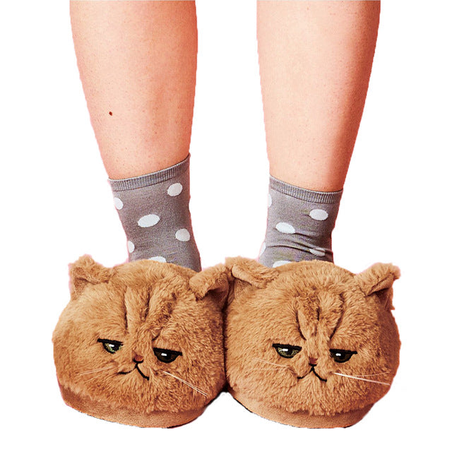 Fluffy Kitten slippers with an attitude! - Kitty Cactus