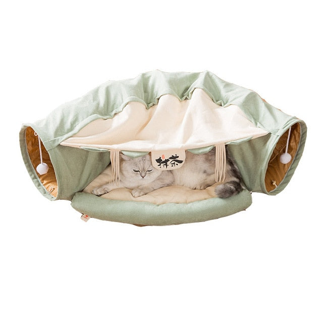 Collapsible Tunnel Bed for Pet Playtime