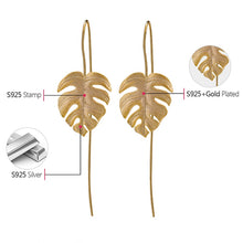 Load image into Gallery viewer, Monstera Leaves Drop Earrings