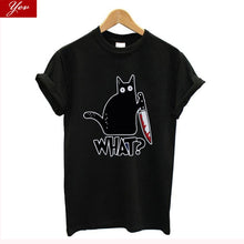 Load image into Gallery viewer, What? Suspicious Cat T-shirt.