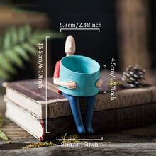 Load image into Gallery viewer, Unusual seated person tiny plant pot - Kitty Cactus