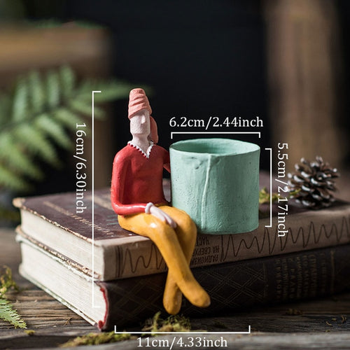 Unusual seated person tiny plant pot - Kitty Cactus