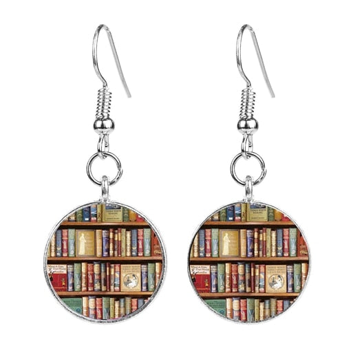 Vintage Bookshelf Earrings