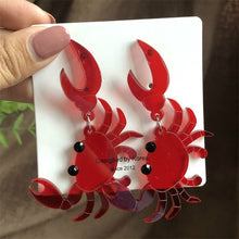 Load image into Gallery viewer, Snappy! Red Crab Drop Earrings.