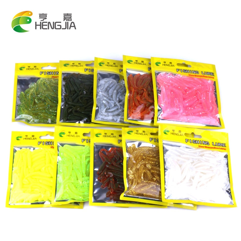 50 pcs Silicone worms - Gearedupfishing