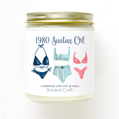 1980 Suntan Oil summer scented soy candle by Waterfront Candle. Made in USA.