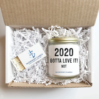The 2020 Gotta Love It! Not French Vanilla scented 9 oz natural soy wax candle gift box by Waterfront Candle