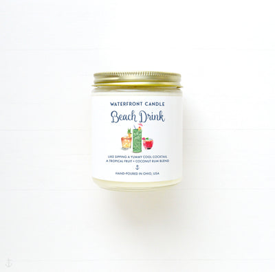 The Beach Drink Coconut Lime scented 9 oz natural soy wax candle by Waterfront Candle