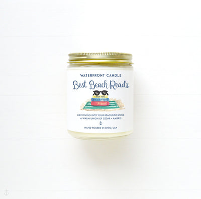 Best Beach Reads Handmade book scented small batch hand-poured soy 9 oz candle by Waterfront Candle