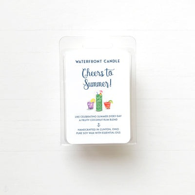 The Cheers to Summer Coconut Lime scented natural soy wax melt by Waterfront Candle