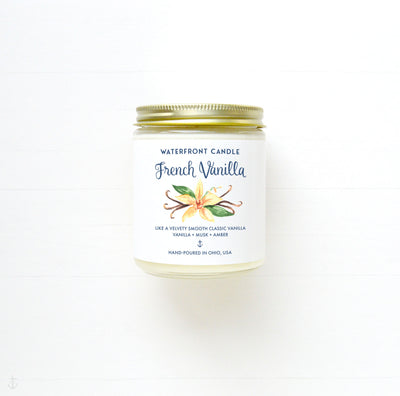The French Vanilla scented 9 oz natural soy wax candle by Waterfront Candle