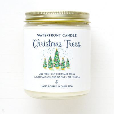 The Christmas Trees Pine scented 9 oz natural soy wax candle by Waterfront Candle