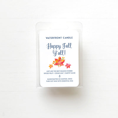 The Happy Fall Y'all Leaves scented natural soy wax melt by Waterfront Candle