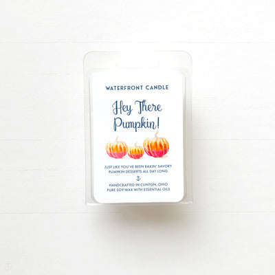 Pumpkin scented fall soy wax melt by Waterfront Candle.