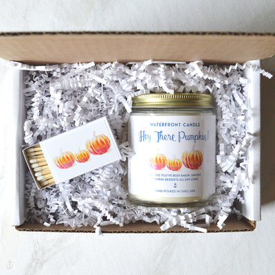 The Hey There Pumkin, Pumpkin Soufflé scented 4 oz natural soy wax candle gift box by Waterfront Candle