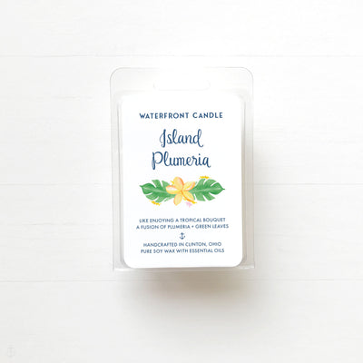 Island Plumeria floral scented soy wax melt by Waterfront Candle