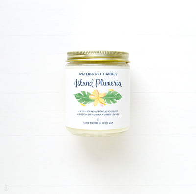 Island Plumeria floral scented soy wax candle by Waterfront Candle.