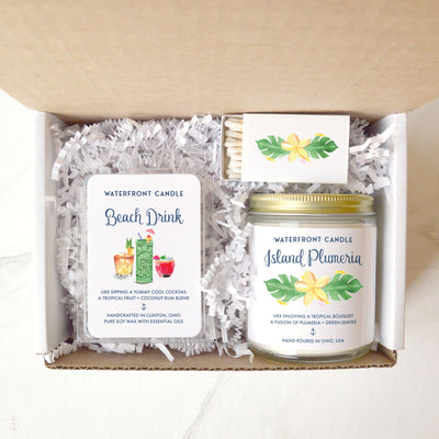 The Island Vibes Melt and Candle Sampler Set Coconut Lime and Plumeria scented 9 oz natural soy wax candle and 2.5 oz melt gift box by Waterfront Candle