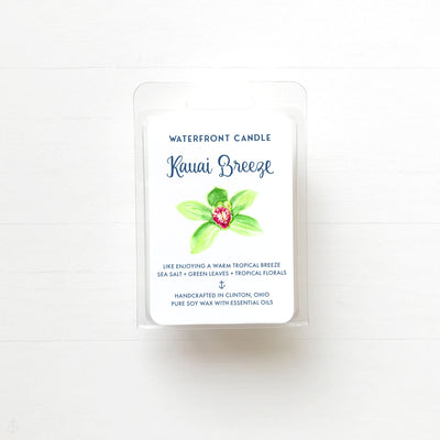 Kauai Breeze sea salt orchid scented soy wax melt by Waterfront Candle.