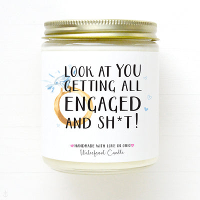 Look At You Getting Engaged engagement gift candle.