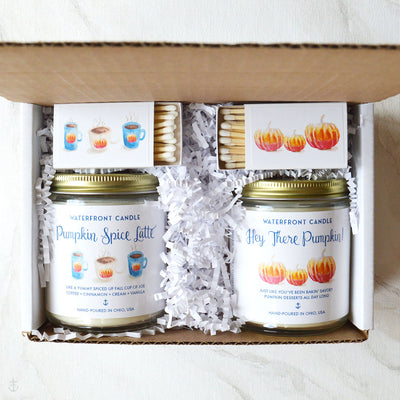The Pumkin Lover Gift Set  Pumpkin Spice Latte and Pumpkin Soufflé scented 9 oz natural soy wax candle gift box by Waterfront Candle