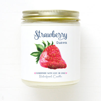 Strawberry Guava scented soy candle by Waterfront Candle. Made in USA.