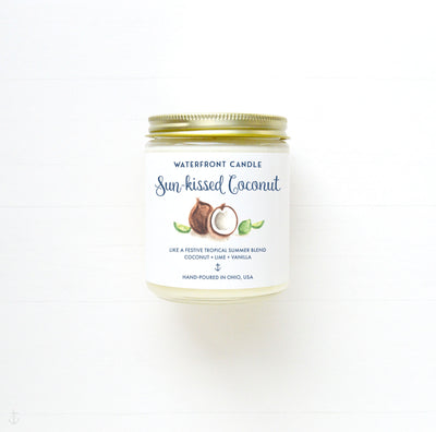 The Sun-kissed Cocnut Coconut Lime scented 9 oz natural soy wax candle by Waterfront Candle