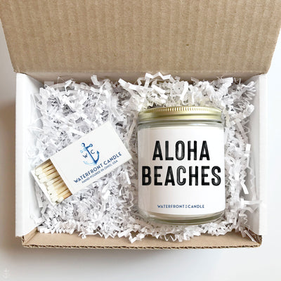 The Aloha Beaches Sea Salt Orchid scented 9 oz natural soy wax candle gift box by Waterfront Candle