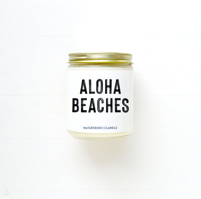 The Aloha Beaches Sea Salt Orchid scented 9 oz natural soy wax candle by Waterfront Candle