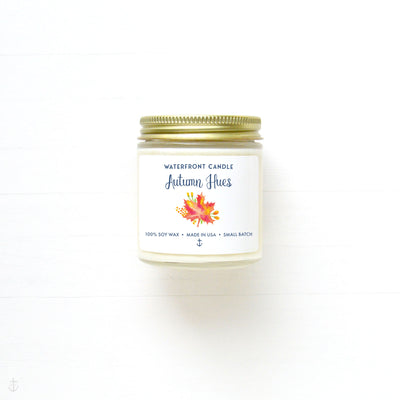 The Autumn Hues Leaves scented 4 oz natural soy wax candle by Waterfront Candle
