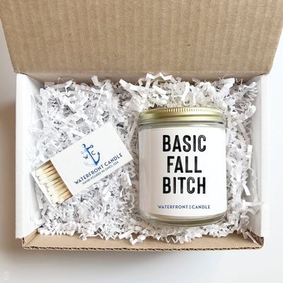 The Basic Fall Bitch Pumpkin Soufflé scented 9 oz natural soy wax candle gift box by Waterfront Candle