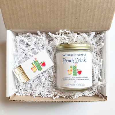 The Beach Drink Coconut Lime scented 9 oz natural soy wax candle gift box by Waterfront Candle