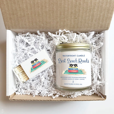 The Best Beach Reads Library scented 9 oz natural soy wax candle by Waterfront Candle